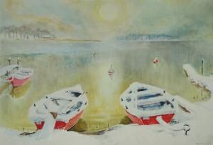Rote Boote im Gegenlicht ⋅ nach 1950 Image