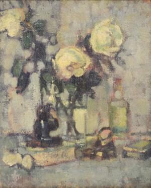 Stillleben mit weißen Rosen Image