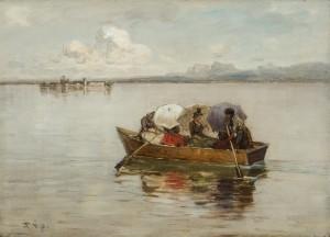 Sommergäste mit bunten Schirmen auf der Überfahrt ⋅ um 1886 Image