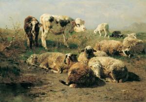 Kälber und ruhende Schafe ⋅ 1885 Image