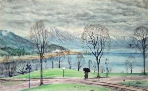Spaziergänger am Tegernsee ⋅ um 1930/35 Image