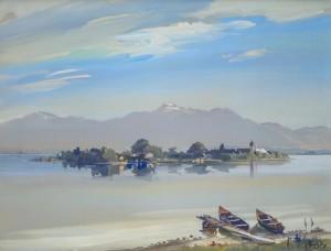 Chiemseeufer mit zwei Booten ⋅ 1925 Image