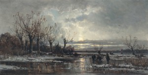 Winterabend mit Holzsammler auf einem vereisten Teich ⋅ um 1880 Image