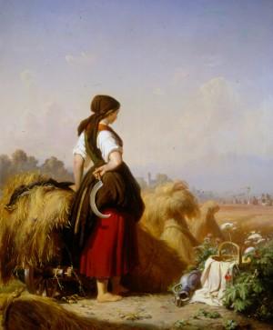 Eine Schnitterin bei den Garben stehend, schaut nach einem aus der Kirche heimkehrenden Hochzeitszuge ⋅ 1856 Image