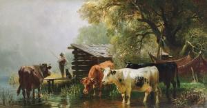 Uferlandschaft mit Kühen und Angler ⋅ 1870 Image