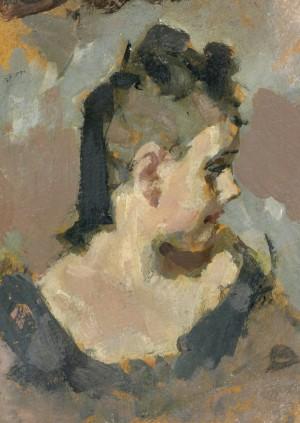 Mädchenkopf im Profil nach rechts ⋅ um 1940 Image