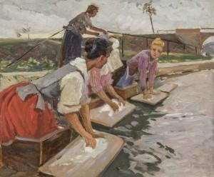 Wäscherinnen am Fluss Image