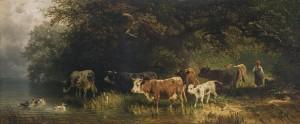 Hirtin mit Kuhherde am Wasser ⋅ 1870 Image