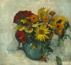 Sonnenblumen und Zinnen im Krug ⋅ um 1920 Image