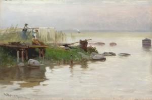 Unterhaltung am Ufer der Fraueninsel ⋅ um 1890 Image